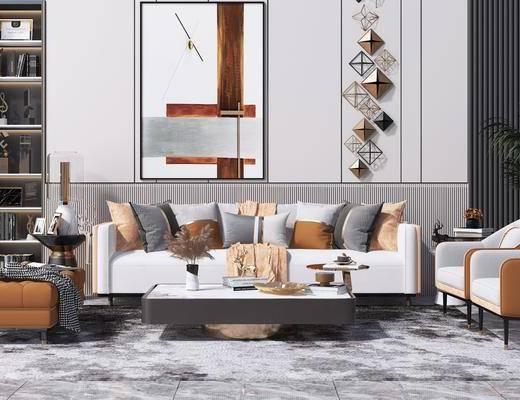 单人椅子, 装饰挂画, 沙发组合, 抱枕, 装饰画, 茶几, 单椅