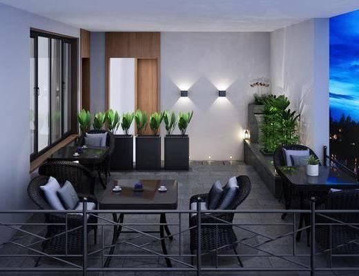民宿庭院, 编织椅, 单人椅, 户外椅, 绿植植物, 壁灯, 桌子, 中式