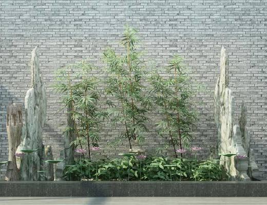 园艺小品, 竹子, 石头, 绿植, 中式
