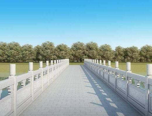 桥, 树木, 绿植植物, 现代