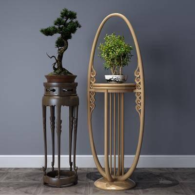装饰架, 盆栽, 绿植植物, 新中式