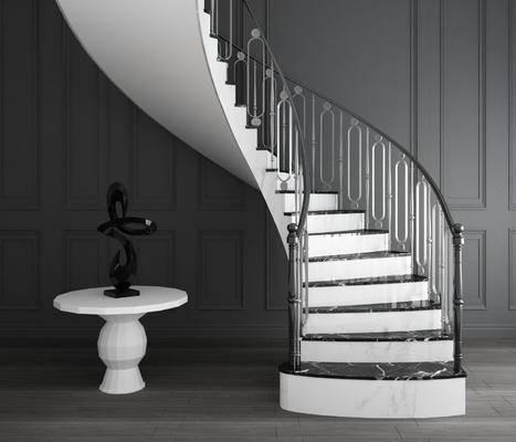 旋轉樓梯, 欄桿扶手, 圓幾雕塑, 擺件組合, 歐式