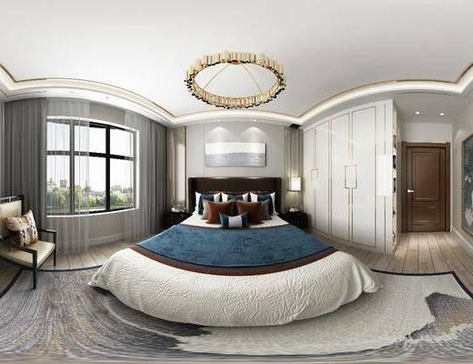卧室, 双人床, 床头柜, 台灯, 装饰画, 挂画, 新中式