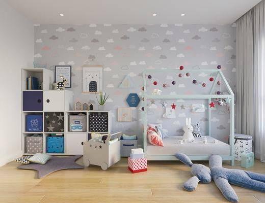 儿童房床, 玩具书架, 现代