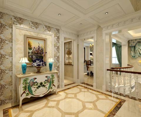 走廊过道, 边柜, 摆件组合, 装饰画