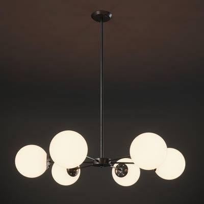 现代简约, 黑色, 吊灯, 现代吊灯