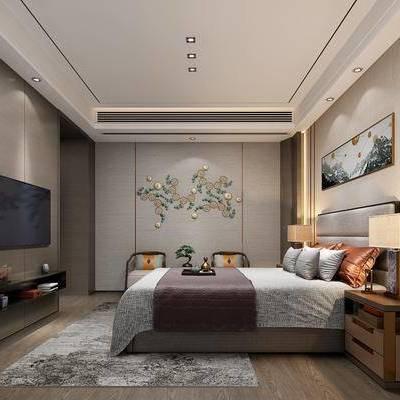 新中式卧室, 新中式, 卧室, 床, 床头柜, 电视柜, 椅子