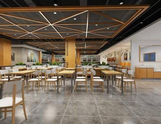 餐厅, 工业风休闲餐厅, 桌椅组合