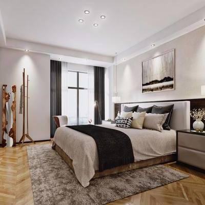 卧室, 现代, 北欧, 双人床, 床头柜, 吊灯, 装饰画