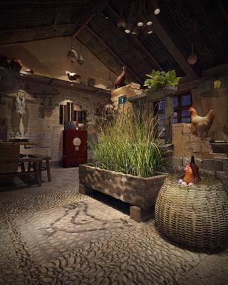 中式, 复古, 餐饮, 散座厅, 乡村, 民俗, 农家乐