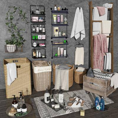 编织筐, 毛巾架, 洗浴用品