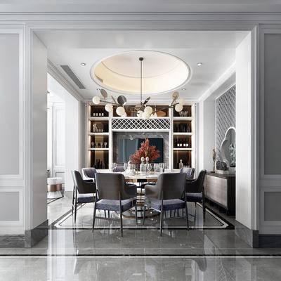 新中式餐厅, 餐厅, 新中式, 餐桌椅, 椅子, 餐桌, 吊灯, 花瓶, 餐具, 餐边柜, 装饰柜