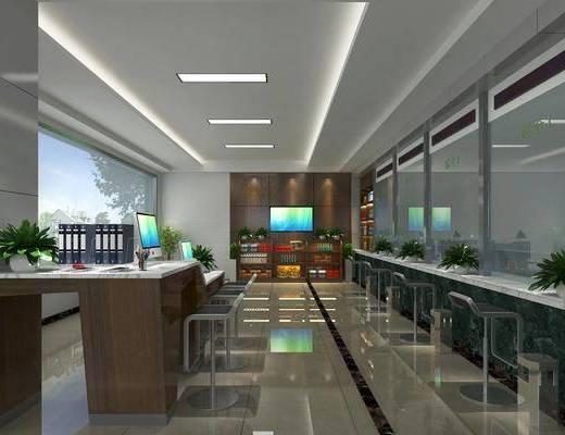 银行, 窗口, 单人椅, 盆栽, 绿植植物, 文件桌, 现代