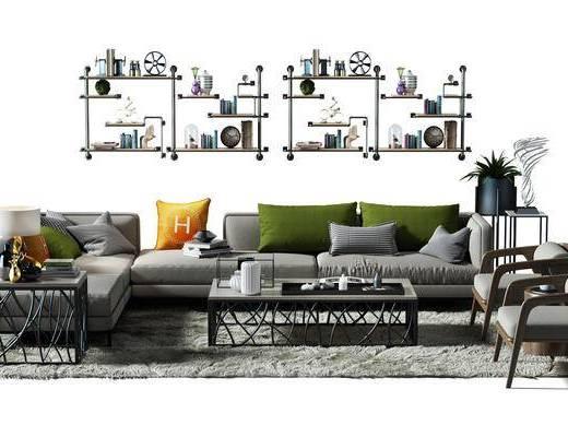 墙架, 墙体装饰架, 装饰架, 地毯, 椅子, 多人沙发, 盆景, 植物, 现代, 沙发茶几组合, 沙发组合, 工业风