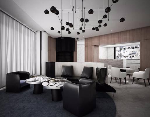 会所大堂, 洽谈区, 多人沙发, 茶几, 单人沙发, 餐桌, 餐椅, 单人椅, 装饰品, 陈设品, 吊灯, 新中式