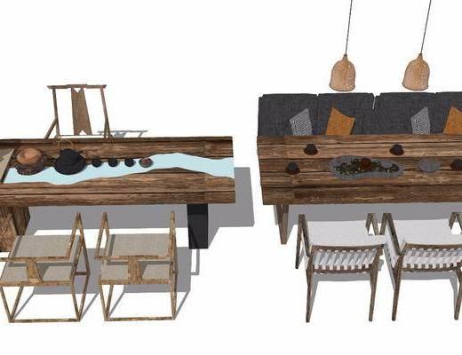 茶室, 茶桌, 茶具组合, 吊灯