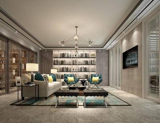 客厅, 现代客厅, 会客厅, 书房, 洽谈区, 沙发组合