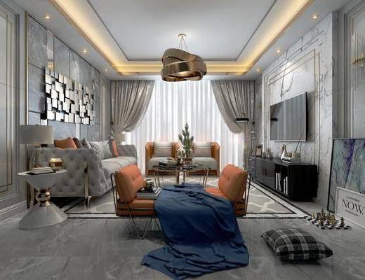 客厅, 现代港式客厅, 现代港式, 沙发组合, 茶几, 沙发凳, 圆几, 台灯, 装饰画, 墙饰, 电视柜, 摆件组合, 现代