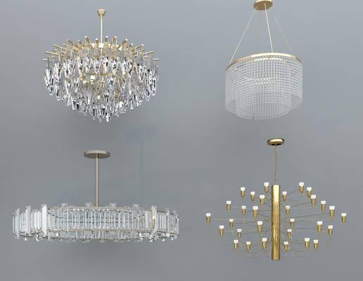 吊灯组合, 水晶吊灯, 吊灯, 玻璃吊灯, 金属吊灯, 多头吊灯