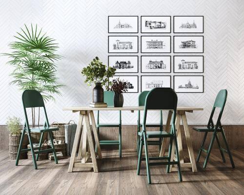 美式, 田园, 餐桌椅, 组合