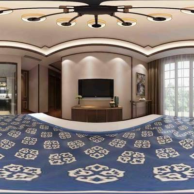 中式卧室, 电视柜, 床, 床头柜, 吊灯, 新中式卧室