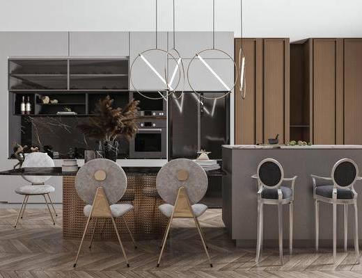 吧台, 吧椅, 餐桌, 餐椅, 桌花, 装饰柜, 吊灯, 饰品摆件