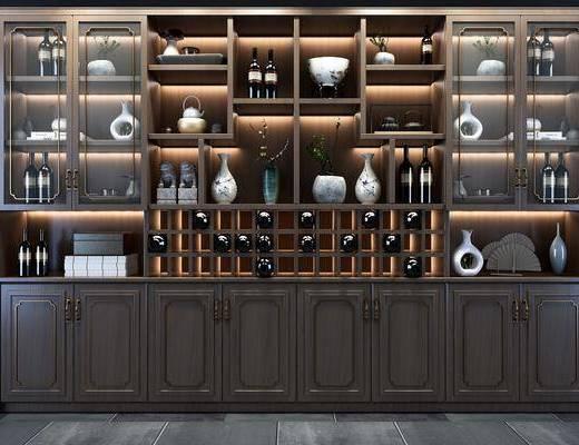 酒柜組合, 酒瓶組合, 新中式
