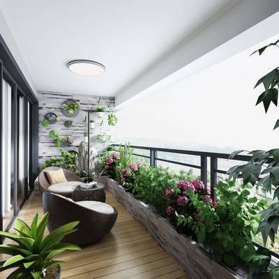 现代阳台, 绿植, 沙发凳, 边几