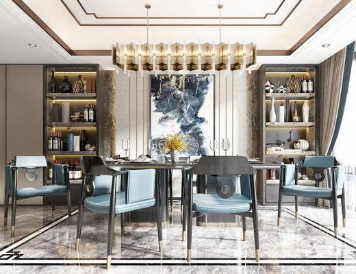 餐桌, 餐椅, 吊灯, 挂画, 边柜, 书柜, 餐具, 装饰品餐椅, 装饰品