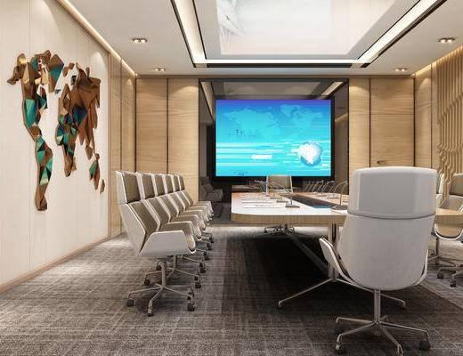 会议室, 办公椅, 会议桌, 投影仪, 墙饰, 现代