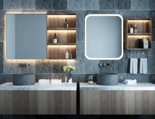 洗手盆, 壁镜, 柜架组合