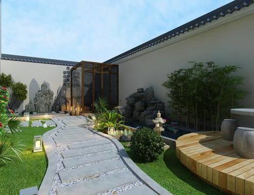 庭院花园, 花园庭院, 绿植植物, 竹子, 假山, 荷花, 现代