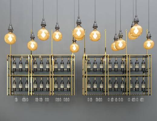 现代, 金属, 吊灯, 酒架, 后现代