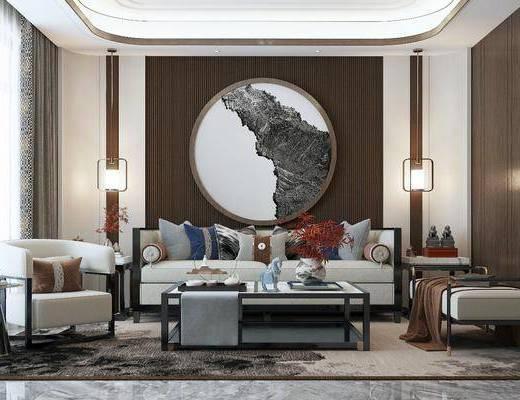 沙发组合, 墙饰, 茶几, 吊灯, 单椅, 摆件组合