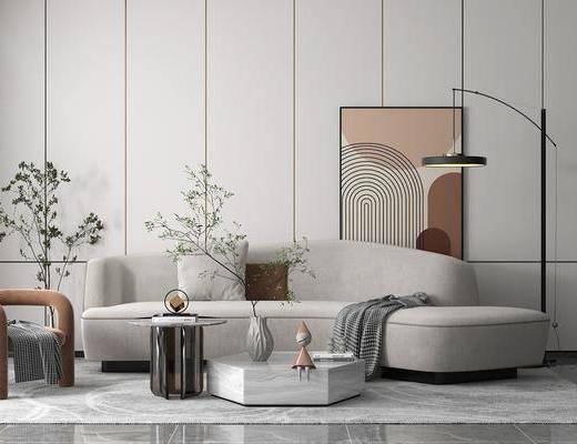 现代客厅, 多人沙发