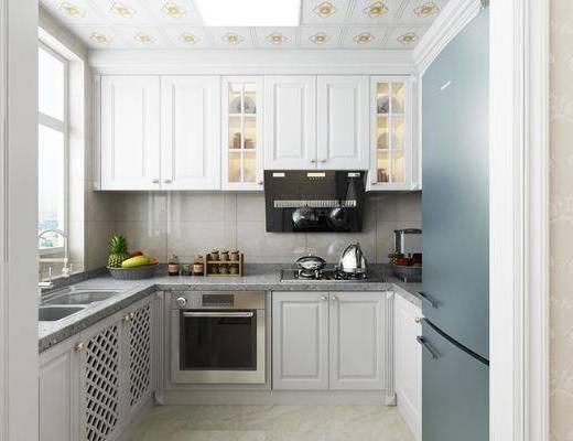 厨房, 橱柜, 厨具, 冰箱, 水果, 简欧