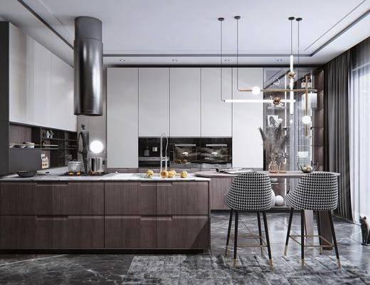 厨房电器, 厨房用品, 吧台, 吧椅, 装饰柜, 装饰品