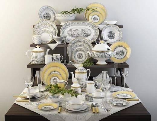 餐具, 陶瓷器皿, 欧式餐具, 碟子, 刀叉, 欧式