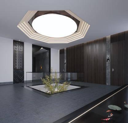走廊, 过道, 中庭, 新中式走廊中庭3d模型