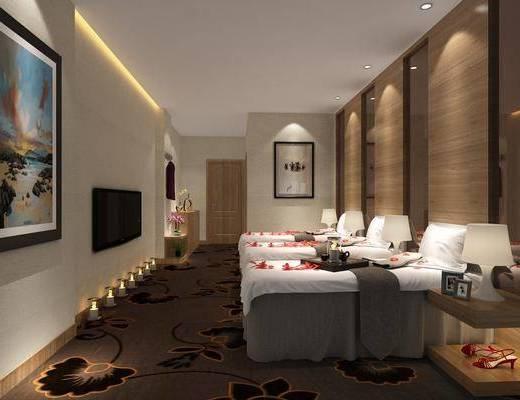 SPA会所, spa桑拿, 按摩床, 边几, 台灯, 装饰画, 挂画, 中式
