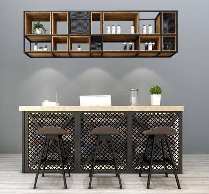 吧台椅组合, 吧台, 吧椅, 单人椅, 装饰柜, 摆件, 装饰品, 陈设品, 工业风