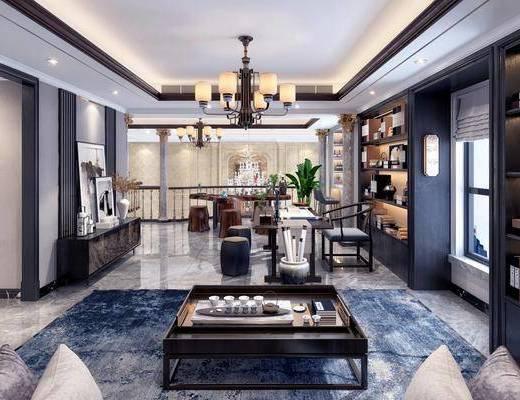 娱乐区, 茶室, 茶桌, 凳子, 单人椅, 边柜, 茶具, 吊灯, 装饰柜, 装饰品, 陈设品, 摆件, 新中式