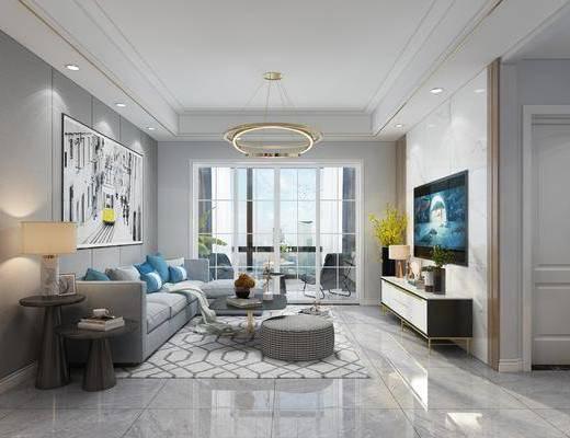 客廳, 餐廳, 沙發組合, 餐桌椅組合, 邊柜組合, 擺件組合, 吊燈組合, 餐具組合, 現代