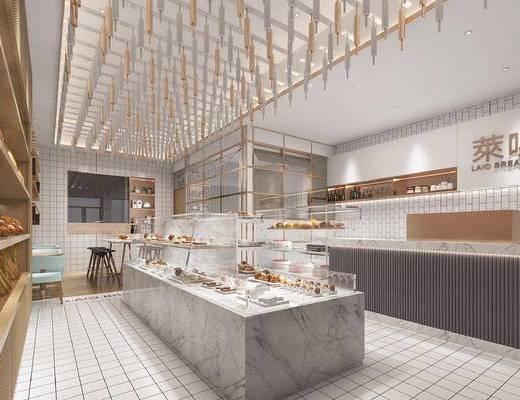 甜品店, 面包柜, 吊灯, 桌椅组合, 收银台