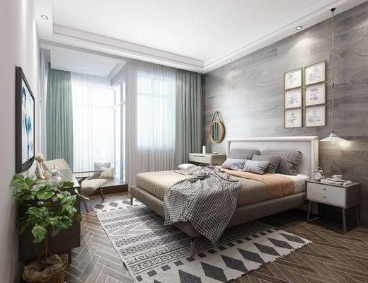 北欧卧室, 现代卧室, 卧室, 窗帘, 床, 挂画, 绿植, 装饰柜, 柜子, 梳妆台, 镜子