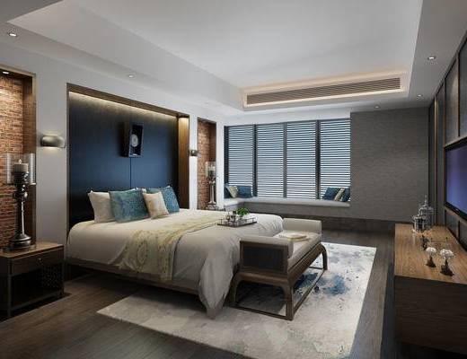 酒店客房, 客房, 卧室, 床, 床尾凳, 现代卧室