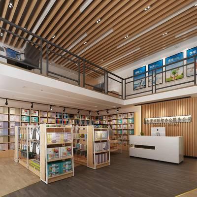 现代文具店, 货架, 书柜, 收银台