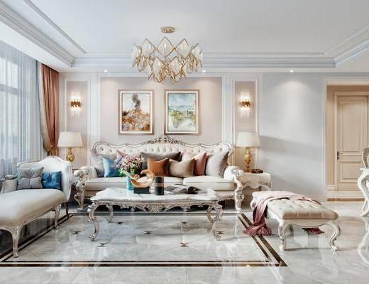 沙发组合, 抱枕, 装饰画, 壁灯, 边几, 台灯, 电视柜, 吊灯