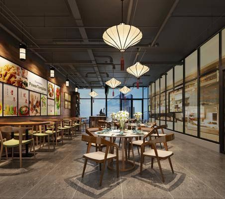 餐厅, 工业风餐厅, 桌椅组合, 餐桌, 单椅, 餐具, 摆件, 吊灯, 工业风