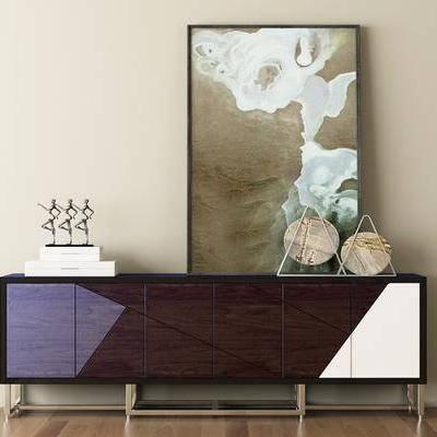 边柜, 摆件, 挂画, 装饰品, 现代